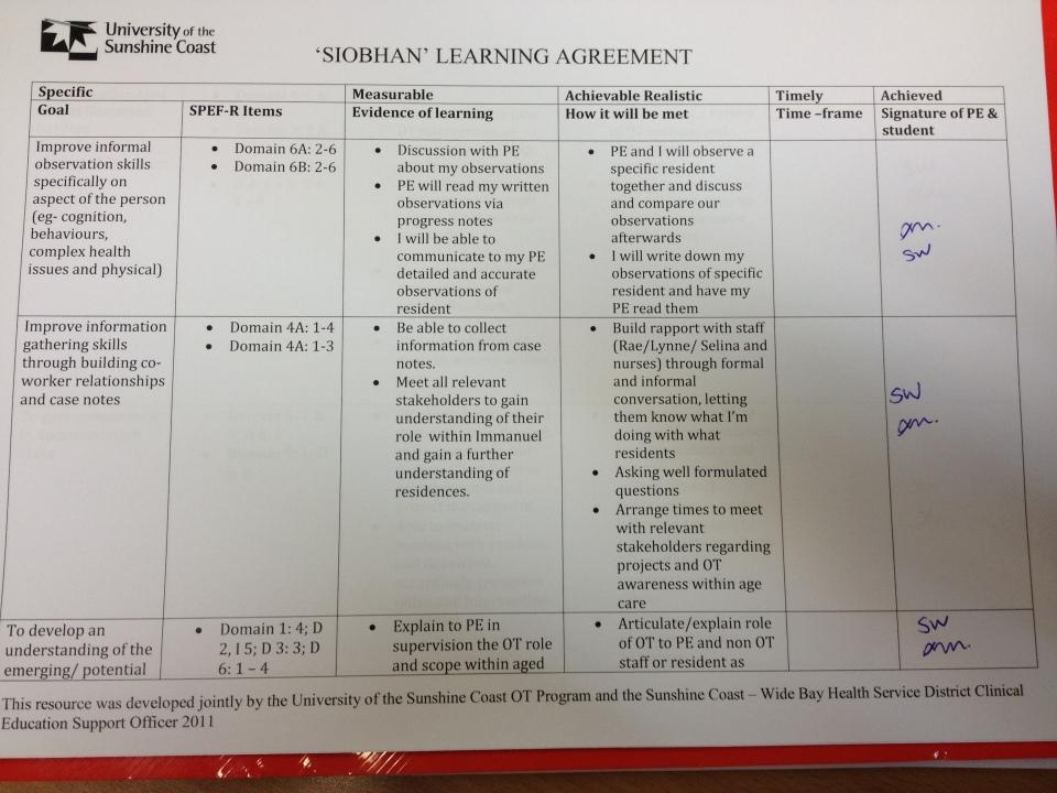 Example Smarta Learning Agreement Goals Siobhan Walker